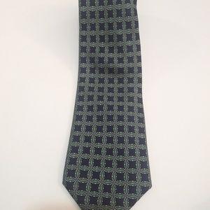 "Hermes Paris Mens Necktie Green Geometric 58"""